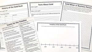 Gold Rush FREE Unit Study showing the notebooking, timeline and writing pages of the printable pages
