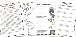 Gold Rush FREE Unit Study showing the vocabulary and following directions printable pages.