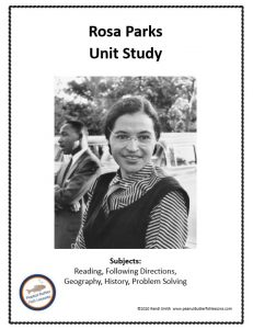 Cover for Rosa Parks Unit Study showing picture of her and subjects included.