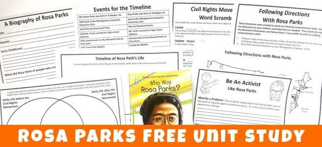 Rosa Parks printables: notebooking page, timeline, word scramble, Venn diagram