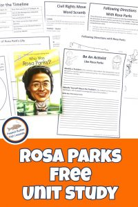 Pinnable cover for Rosa Parks FREE Unit Study showing printables and book.