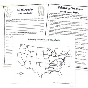 Rosa Parks printables: map activity and Be an Activist planning sheet.