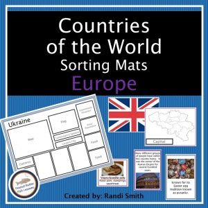 Cover for Europe Sorting Mats showing title, one sorting mats and some matching cards.