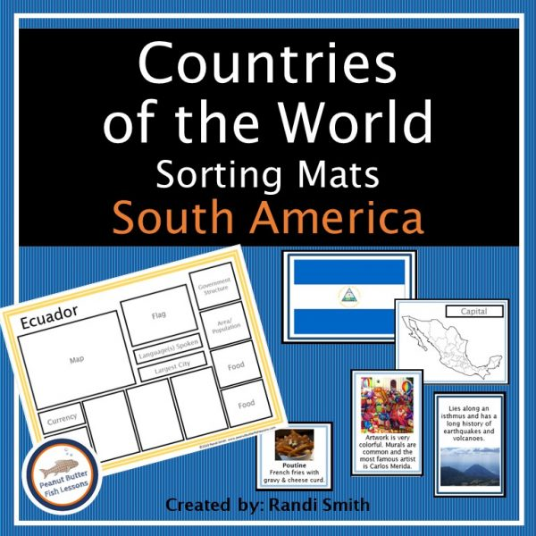 Cover for South America Sorting Mats with title and a few of the pieces shown.