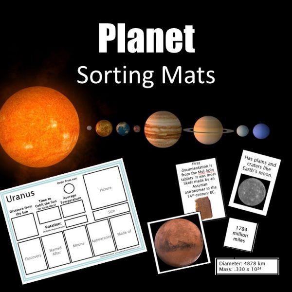 Cover of the product Planet Sorting Mats showing a sorting mat, matching cards, a picture of the solar system and the title.