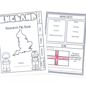 Printed England Flip Book pages with flag colored.