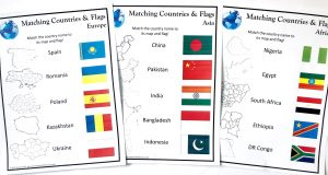 Three printed Matching Countries and Flags Worksheets