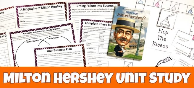 Cover for the Milton Hershey FREE Unit Study showing the Who Was Milton Hershey book and some of the printables.