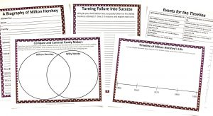 Printable notebooking pages, writing prompt, timeline, and Venn diagram from the Milton Hershey FREE Unit Study.