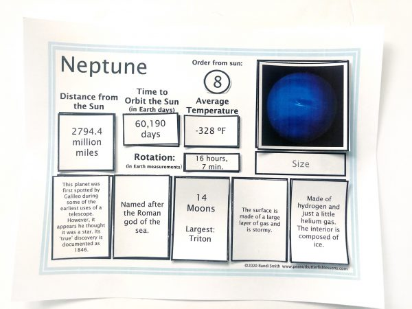 Neptune sorting mats with fact cards on top of it in their spaces.
