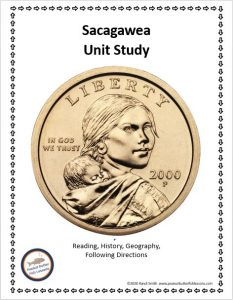 Cover of the printable portion of the Sacagawea Unit Study showing the gold dollar coin with her face on it.