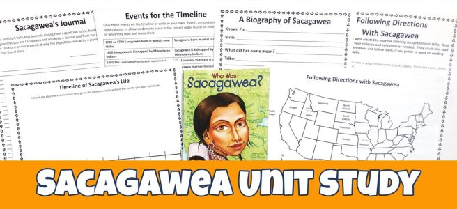 Cover for the Sacagawea FREE Unit Study showing printables and the book.