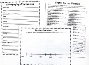 Sacagawea notebooking pages and timeline.