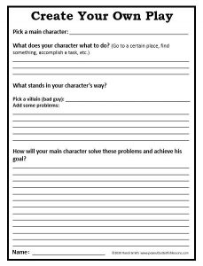Shakespeare Unit Study Create Your Own Play Printable.