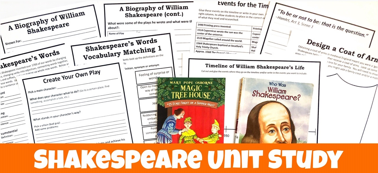 Cover for Shakespeare FREE Unit Study showing books and printable pages.