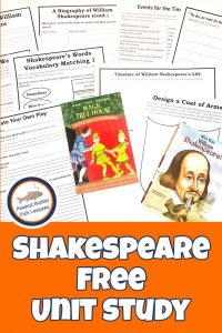 Pinnable cover for Shakespeare FREE Unit Study showing books and printable pages.