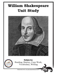 Printable cover of unit study showing photo of painting of Shakespeare and the subjects covered.