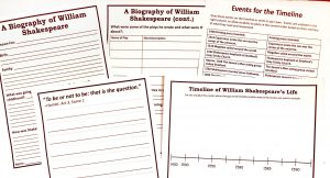 Printable notebooking, timeline, and copy work pages from Shakespeare Unit Study.