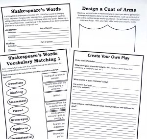 Printable vocabulary, writing, and making a coat of arms pages from Shakespeare Unit Study.
