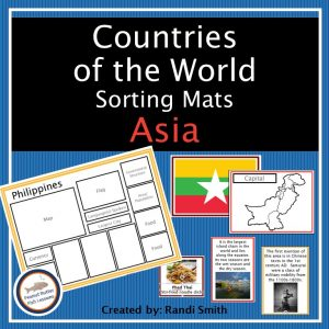 Cover for Asia Sorting Mats showing title, one sorting mats and some matching cards.