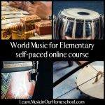 Ad for World Music for Elementary self-paced online course showing different instruments.