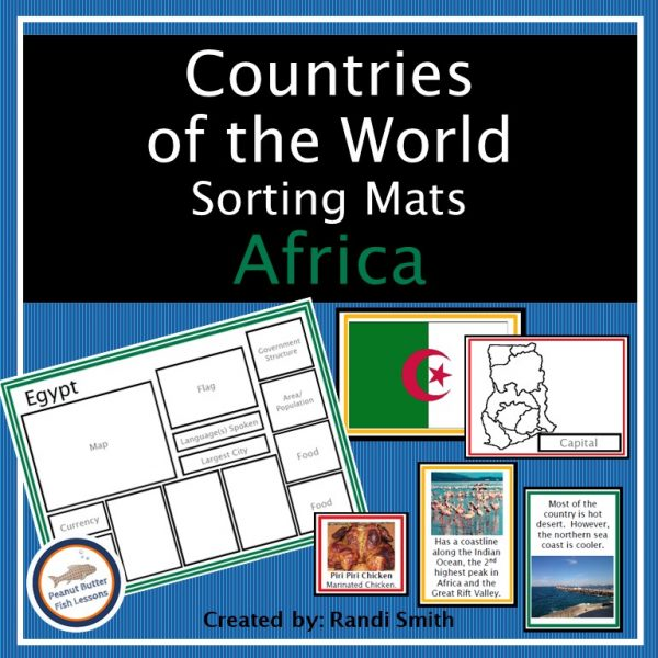 Cover for Africa Sorting Mats showing a sorting mat and some matching cards.