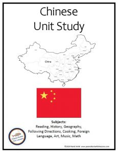 Cover of printable portion of China Unit Study showing map, flag, and subjects covered.
