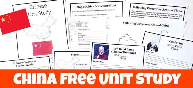 Cover for blog post Learn About China in Your Homeschool showing free printable pages.