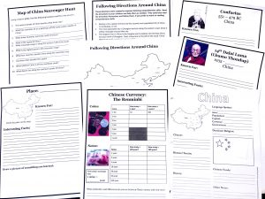 Printable pages from China FREE unit study including place and people notebooking pages, map scavenger hunt and following directions.