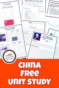 Pinnable cover for blog post Learn About China in Your Homeschool showing free printable pages.
