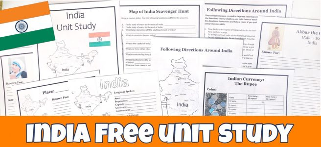 Cover for India FREE Unit Study post showing printable pages.