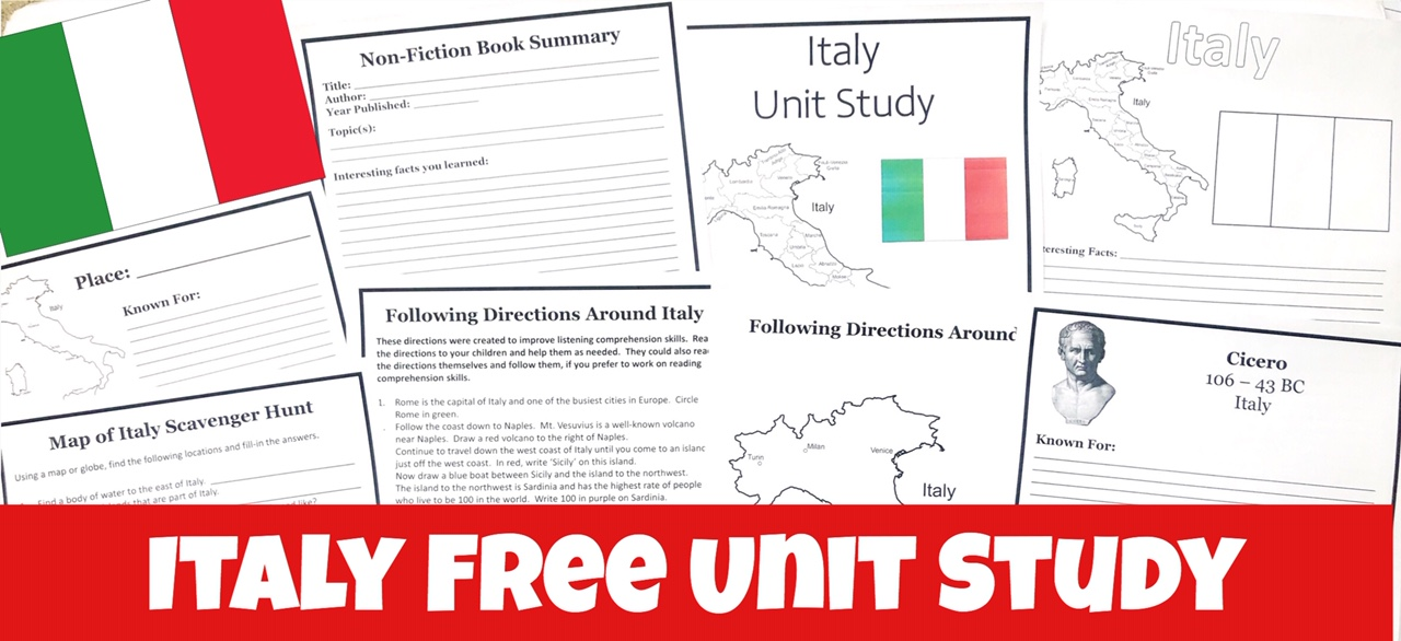 Cover image of Italy FREE Unit Study showing Printable notebooking pages for Italy FREE Unit Study.