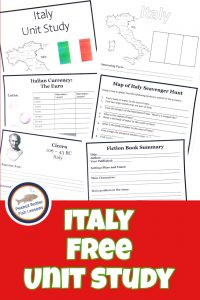Pinnable cover image of Italy FREE Unit Study showing Printable notebooking pages for Italy FREE Unit Study.