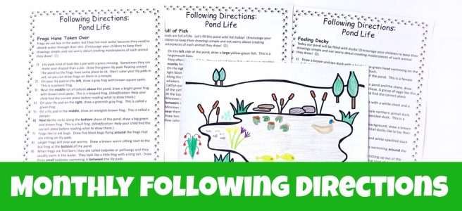 Cover for landing page for monthly following directions showing a completed picture of a pond and three printable sets of directions.