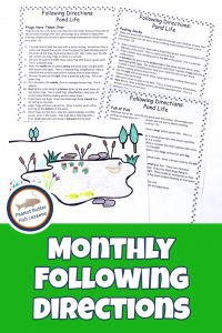 Pinnable cover for the landing page for monthly following directions showing a completed picture of a pond and three printable sets of directions.