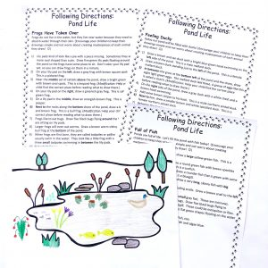 Three sets of printable directions and one completed picture of a pond.