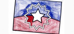 Coloring page of Juneteenth flag colored with red and blue colored pencils.