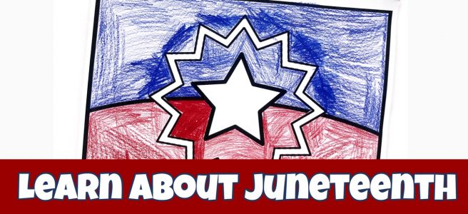 Cover image for blog post Learn About Juneteenth showed colored Juneteenth flag.