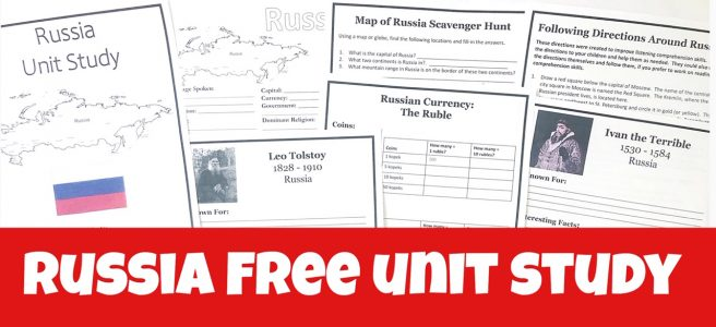 Cover for Russia Free Unit Study showing printable pages.