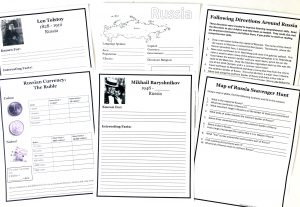 Russia Free Unit Study printable pages including the Russia notebooking page, currency page, famous people pages, map scavenger hunt, and following directions..
