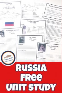 Pinnable cover for Russia Free Unit Study showing printable pages.