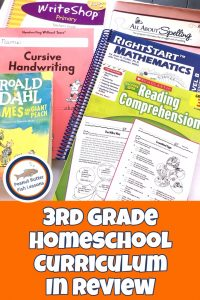 Pinnable cover for 3rd Grade Homeschool Curriculum in Review post showing academic books.