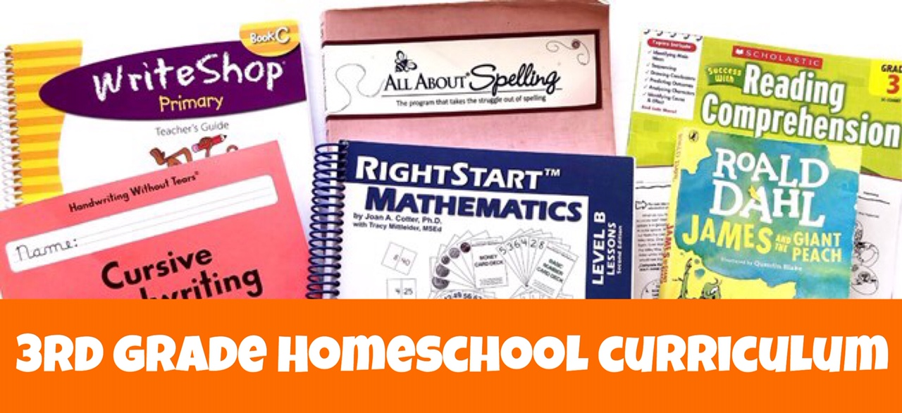 Cover for 3rd Grade Homeschool Curriculum in Review post showing academic books.