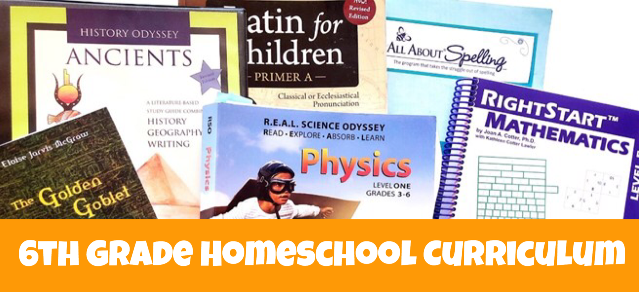 Cover image for blog post 6th Grade Homeschool Curriculum in Review showing different academic books.