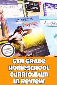 Pinnable cover image for blog post 6th Grade Homeschool Curriculum in Review showing different academic books.
