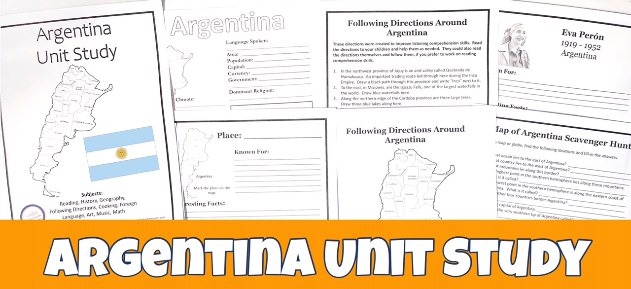 Cover for Argentina FREE Unit Study showing printable pages.