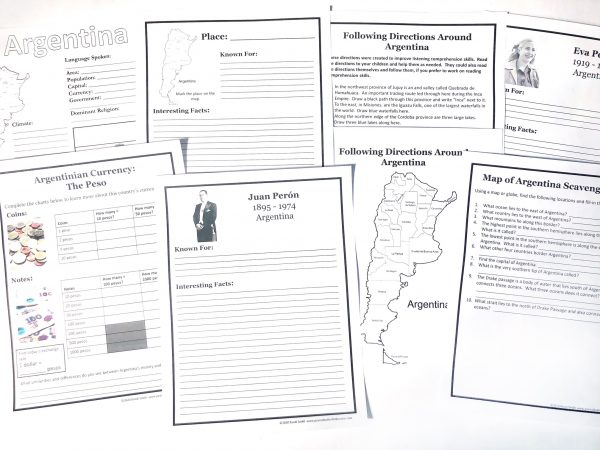 Variety of printed learning pages for Argentina Unit Study.