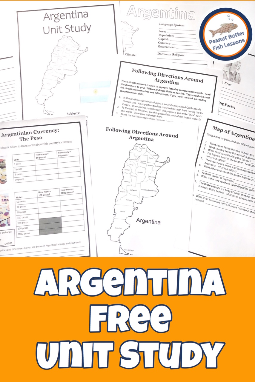 Pinnable cover for Argentina FREE Unit Study showing printable pages.