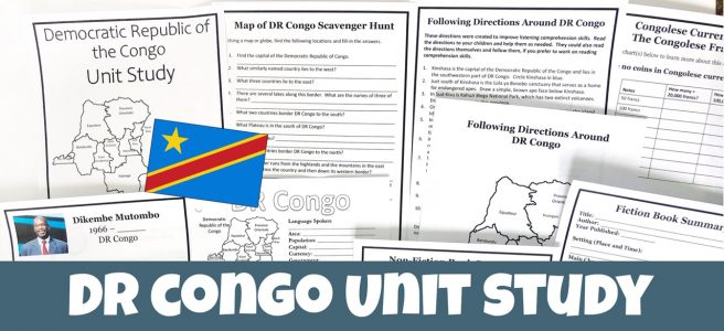 Cover for blog post Democratic Republic of the Congo Unit Study showing printable pages.