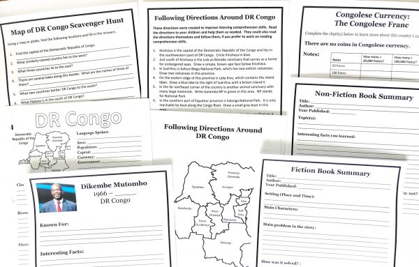 Printed pages of the DR Congo unit study.